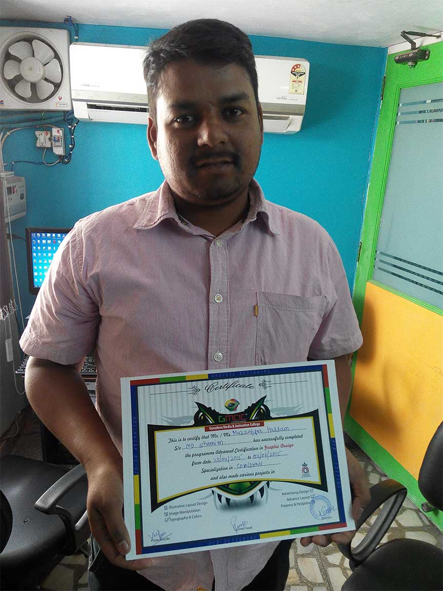 Gmac Animation Activities graphic designing certificate by gmac animation