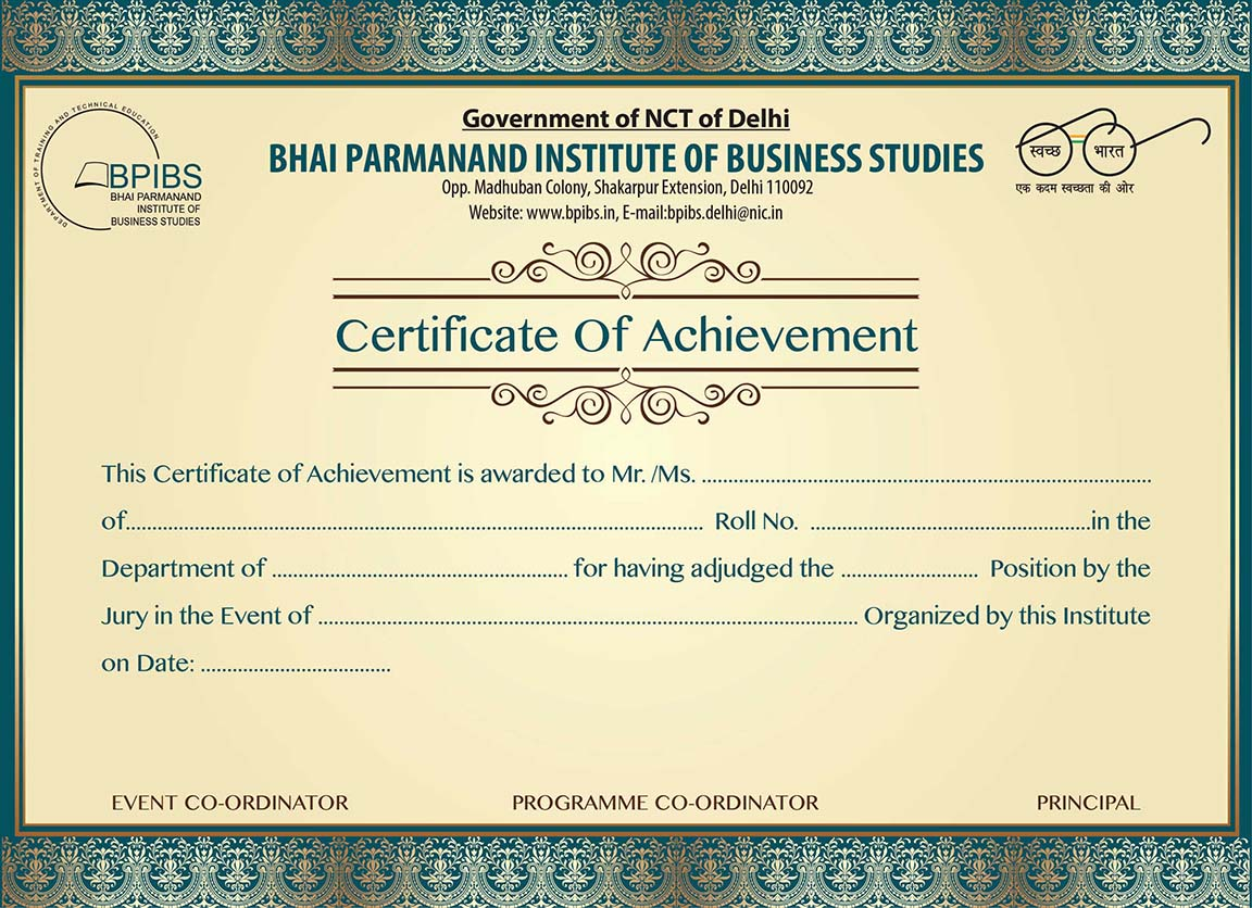 certificate as a graphic designing projects work for government college